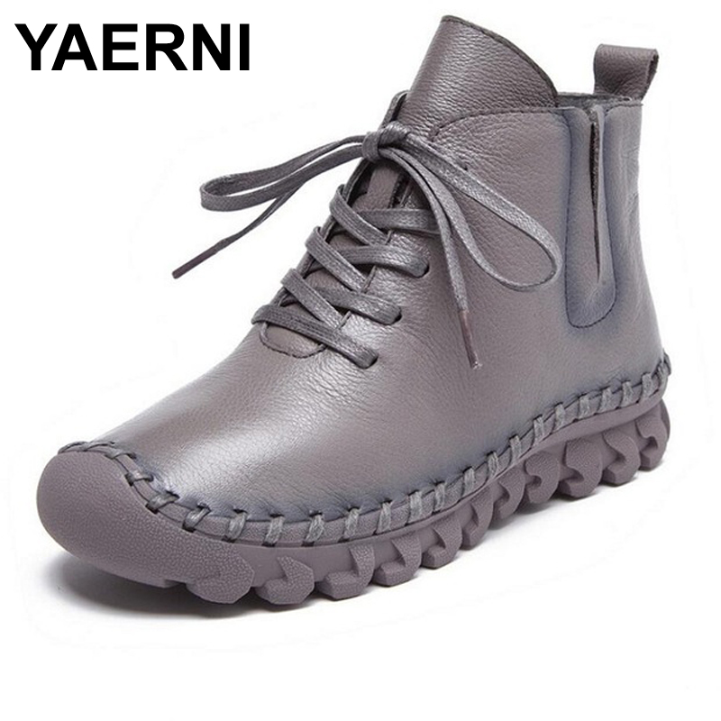 YAERNI Fashion Women Autumn Winter Shoes Genuine Leather Ankle Boots Handmade Full Grain Leather Flat Boots For Women Shoes