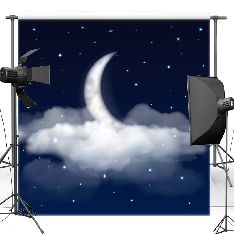 Night Sky Vinyl Photography Background New Moon New Material Polyester Backdrop For Children photo studio Props F2732 3x5ft vinyl photography background night moon moon board photo studio props photographic backdrop waterproof 0 9m x 1 5m