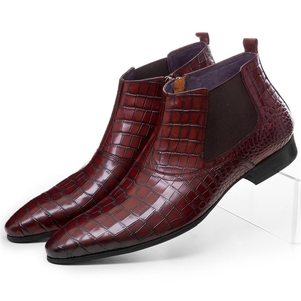 Sapatas Do Tan Mens Dos Homens Boots Marrom Vestido Grained Negócio preto De brown Genuíno Crocodilo Couro Tan Botas Chelsea Ankle Black Retro qfBZxF