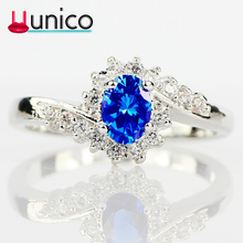 UUNICO 2019 Creative silver plated Engagement Rings Bridal Fashion Jewelry Women wedding Blue/White/Green/red AAA Zircon Ring k5 emmaya white blue green red zircon fashion design ring round silver color aaa zircon finger rings for women jewelry party gift