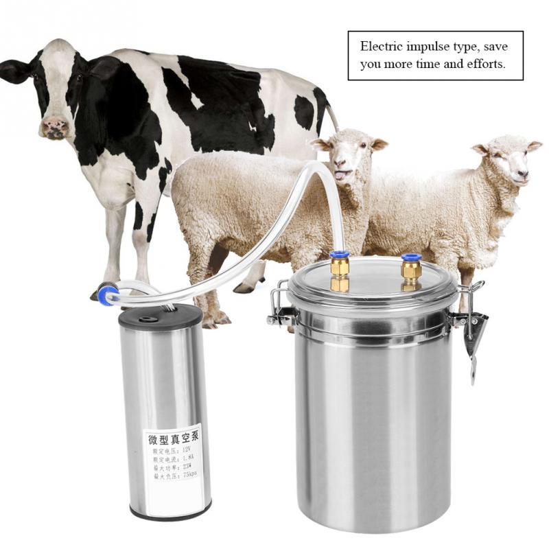 2l 휴대용 전기 젖 짜기 기계 스테인레스 스틸 암소 염소 양 양동이 흡입 밀크 1/2 gal 진공 펌프 젖 짜기 기계의  그룹 1