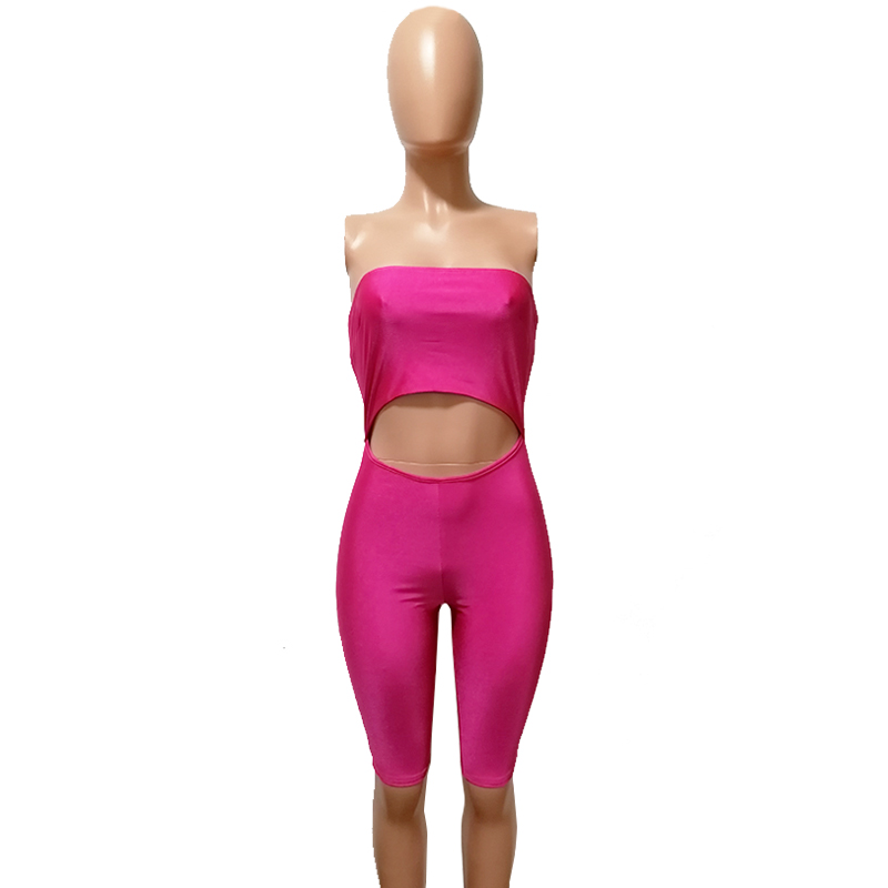 07136fc9087 2019 SexeMara Front Cutout Stretch Pink Romper Sexy Costumes One ...