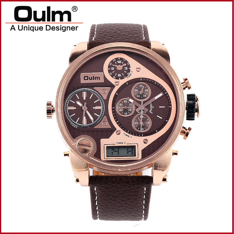 Brand Oulm 9316B Watch Quartz Sports Men Leather Strap Watch Fashion Male Military Wristwatch Running Cool Clock oulm multi function 3 movt quartz leather wristwatch men military sports watch