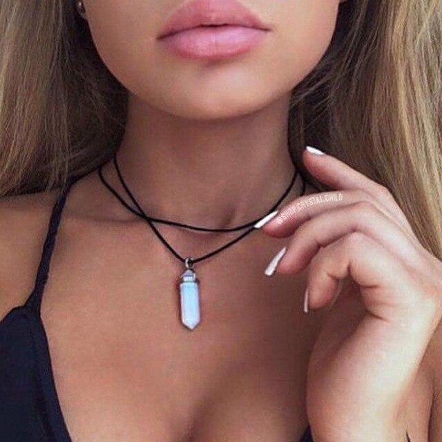 2017 Original New Vintage pu Leather Opal Choker Necklace Women Boho Chocker Nec