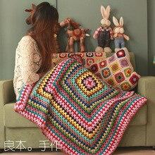 DIY Craft handmade cushion scappa scarf carpet Hand hooked fashion crochet blanket cushion felt home&living pastoral style gift