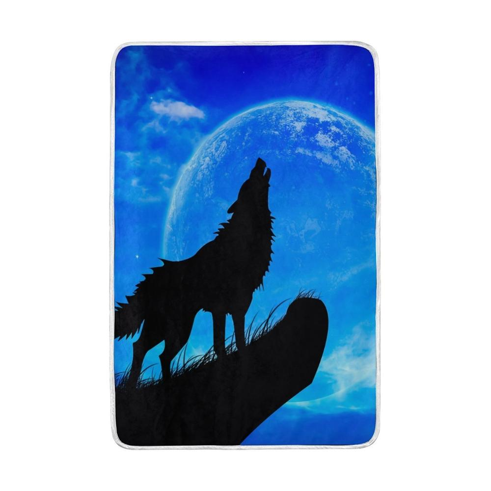 Animal Wolf Moon Blanket Lightweight Soft Warm Blanketss Twin Size 60x90 inches for Bed <font><b>Sofa</b></font> Couch Office Cobija Home Decor