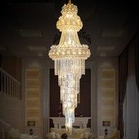 Large Modern Led Chandelier Lighting 110 240V Lustres Gold K9 Crystal Chandelier Light Remote Control Hotel