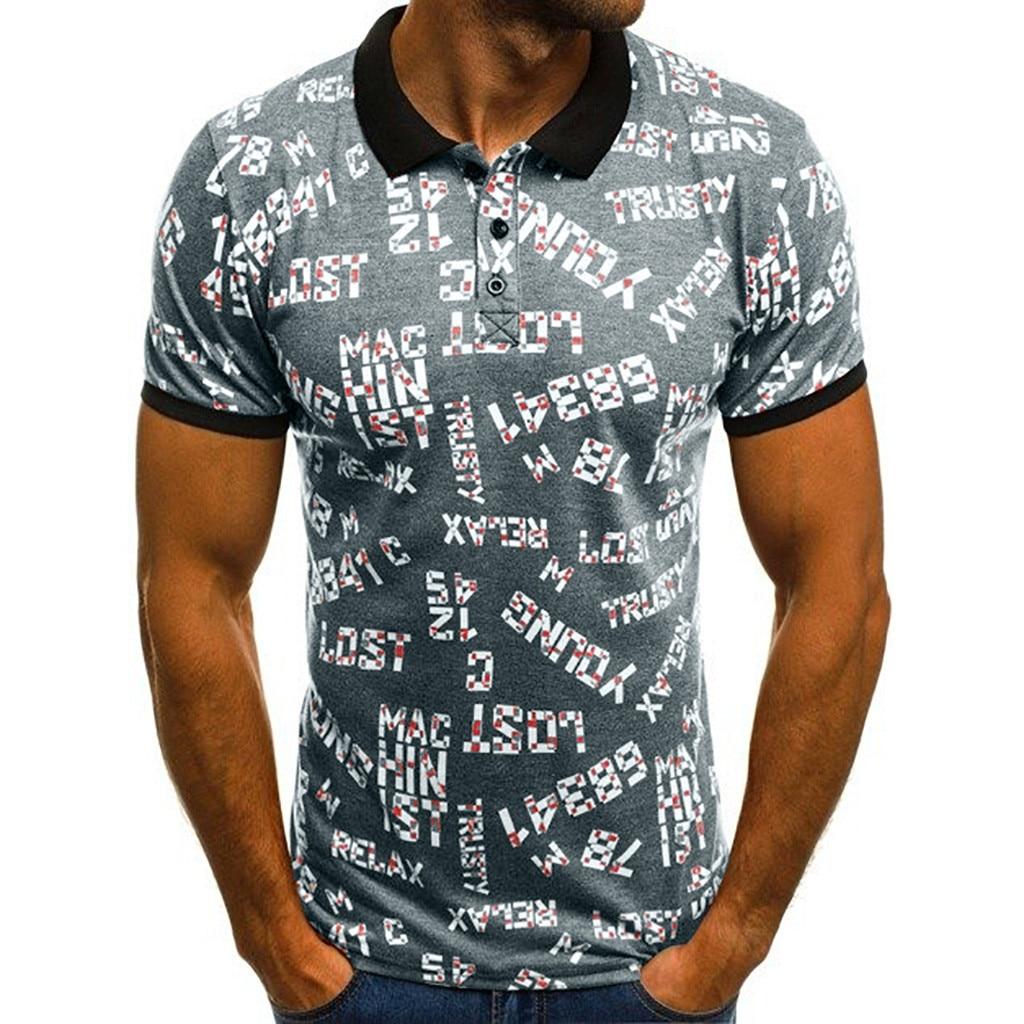 1 Pc Männer Der Baumwolle Sommer Neue Digitale Brief Gedruckt Kurzen Ärmeln Fashion Casual Sport Revers Bluse Täglichen Top Mode C0409