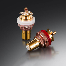EIZZ RCA socket connector Female tellurium copper polishing with no nickel gold Chassis Panel Mount Adapter Terminal plug 1PC