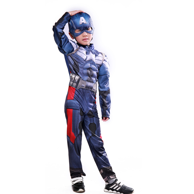 Amazing Boys Captain America Costume Muscle Bodysuit 3D Movie Avengers Superhero Image With Mask For Children