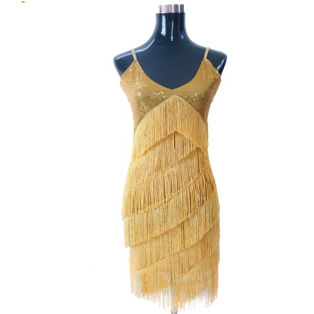 Stunning Stage Dance Costume 1920s Great Gatsby Style Sequin Tel V Neck Tail Latin Party