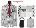 Hotsale de la alta calidad de la marca de moda Polka Dot hombres visten trajes trajes de fiesta trajes de boda blanco de color negro pantalón + chaqueta
