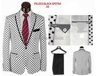 hotsale high quality fashion brand Polka Dot men dress suits party suits wedding suits white black color pant+jacket