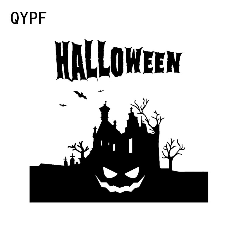 QYPF 11.8*12.5 Fashion Halloween Scary Bats Castle Vinyl