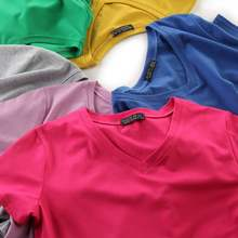 15 colors! Plus Size M-3XL Women T Shirt V Neck Summer Short Sleeve Solid Tshirt Solid Color Basic Top Tee Shirts Female T-shirt s 3xl solid color t shirt v neck tops summer women s long sleeve black white harajuku t shirt casual tee shirts female plus size