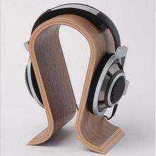 2018 soporte de auricular de madera forma de U titular de auriculares nogal clásico acabado soporte de suspensión para Home Office estudio dormitorio