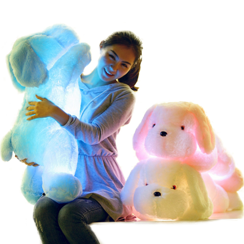 1pc 50cm/80cm LED Light Plush Dog Pillow Toys Luminous Glowing Gleamy Plush Dog Cushions Kids Toy Gifts for Children Girls image