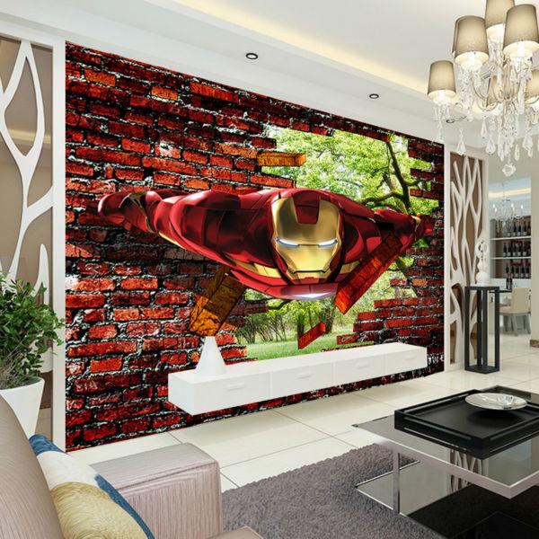 3D Iron Man Wallpaper Avengers photo wallpaper Custom Wall Murals Kids Boys Bedroom Decor Superhero Movie Interior Design Trees