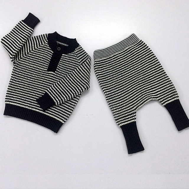 2016 Spring Autumn Kids Stripe Nununu Children Sets Sweaters Pants For Baby Boys Girls Tiny Cotton Huxbaby Sweater Knit Shirts