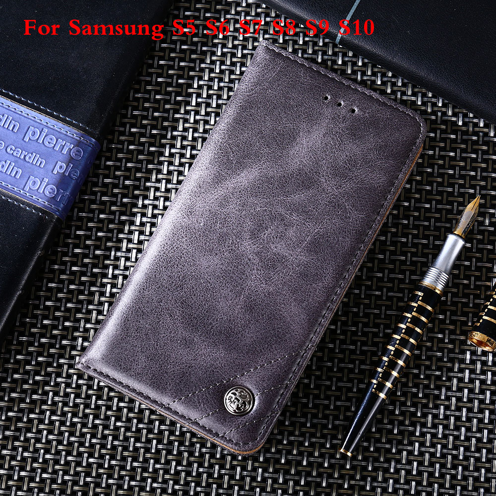 Phone Case for Samsung Galaxy S5 S6 S7 S8 S9 S10 S6 Edge For S7 Edge Note5 C5 C7 S9 S10 S8 Plus Leather Flip Wallet Case