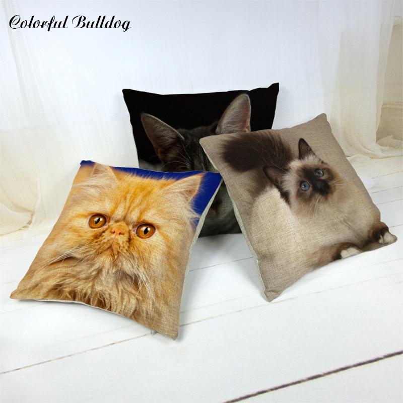 Cartoon Decorate Home Car Seat Cushion Cover Cat Pillowcase Cute 43*43cm Square Throw Pillows Cotton Linen Children Gift Cojines