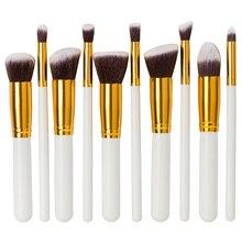 10Pcs professional Eye Blush Face Brush Black Synthetic Hair Three Colors Wooden Cosmetics Tools Makeup Brushes Set