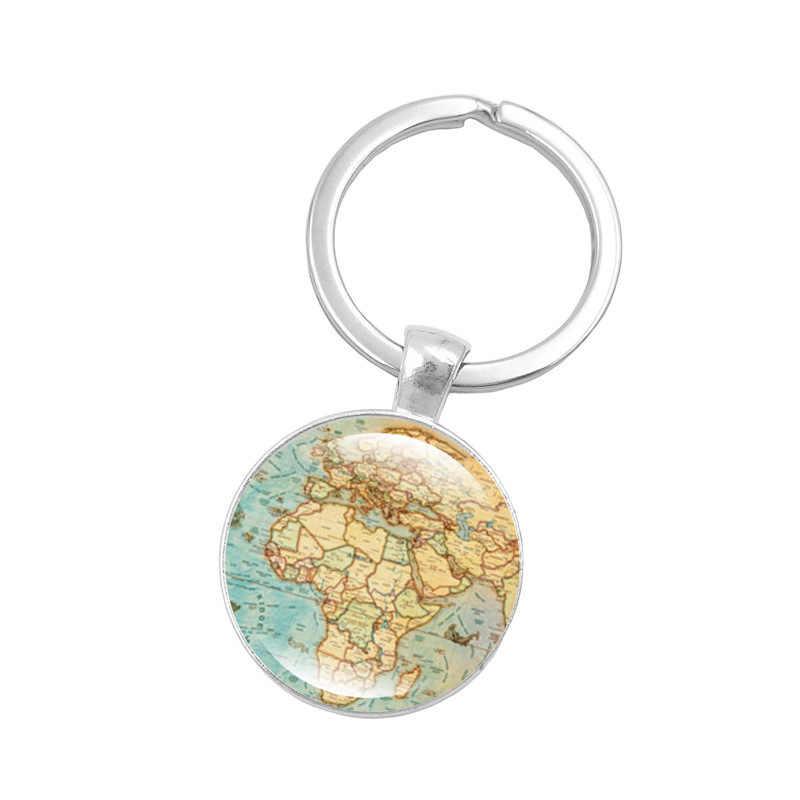 Saitaisery Ретро Карта мира брелок стеклянный купол кулон серебряный металлический брелок для ключей сумка с подвесками автомобильный брелок кольцо пара влюбленных подарок