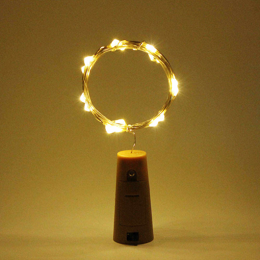2M 1M LED Copper Silver Wire String Lights Bottle Stopper Garland for Glass Craft New Year Christmas Decoration Battery Powered
