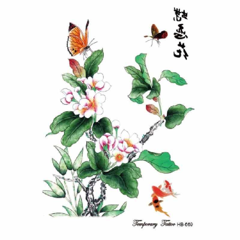 Çiçek kuş çıkartması sahte kadın erkek DIY kına vücut sanatı dövme tasarım kelebek ağaç dalı canlı geçici dövme etiket
