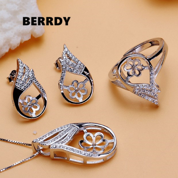 Fashion Pearl Pendant Earrings Ring Set Mountings Findings Settings Jewelry Set Parts Fittings Charm Accessories for