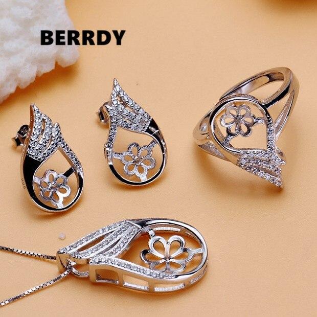 Moda Pearl wisiorek/kolczyki/pierścień zestaw mocowania ustawienia ustawienia biżuteria zestaw części akcesoria Charm akcesoria dla Lady dziewczyny w Wykończenia i elementy biżuterii od Biżuteria i akcesoria na  Grupa 1