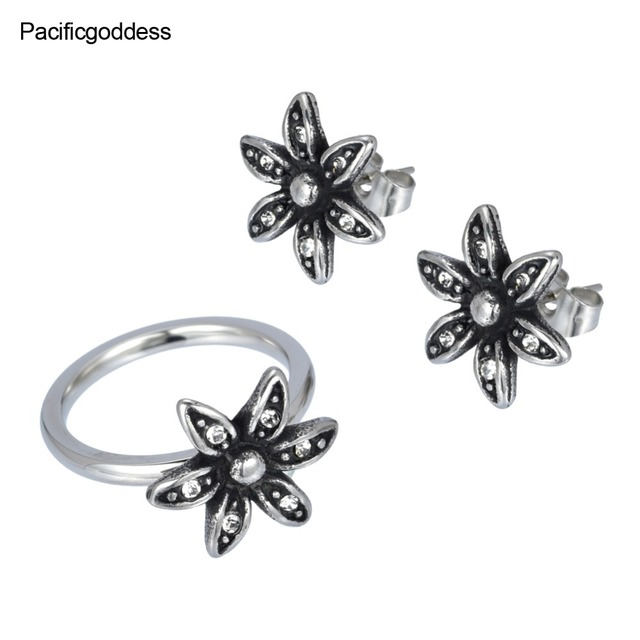 flower sharp earrings and rings three color can select nice jewelry free ship