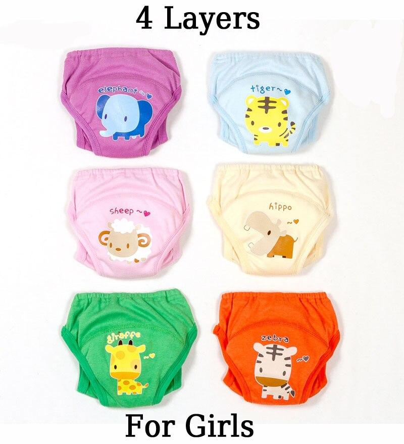 Образец 1 шт., многоразовые тренировочные штаны для малышей, недорогие детские трусики-подгузники, нижнее белье для новорожденных - Цвет: 4Layer Girl(Random)
