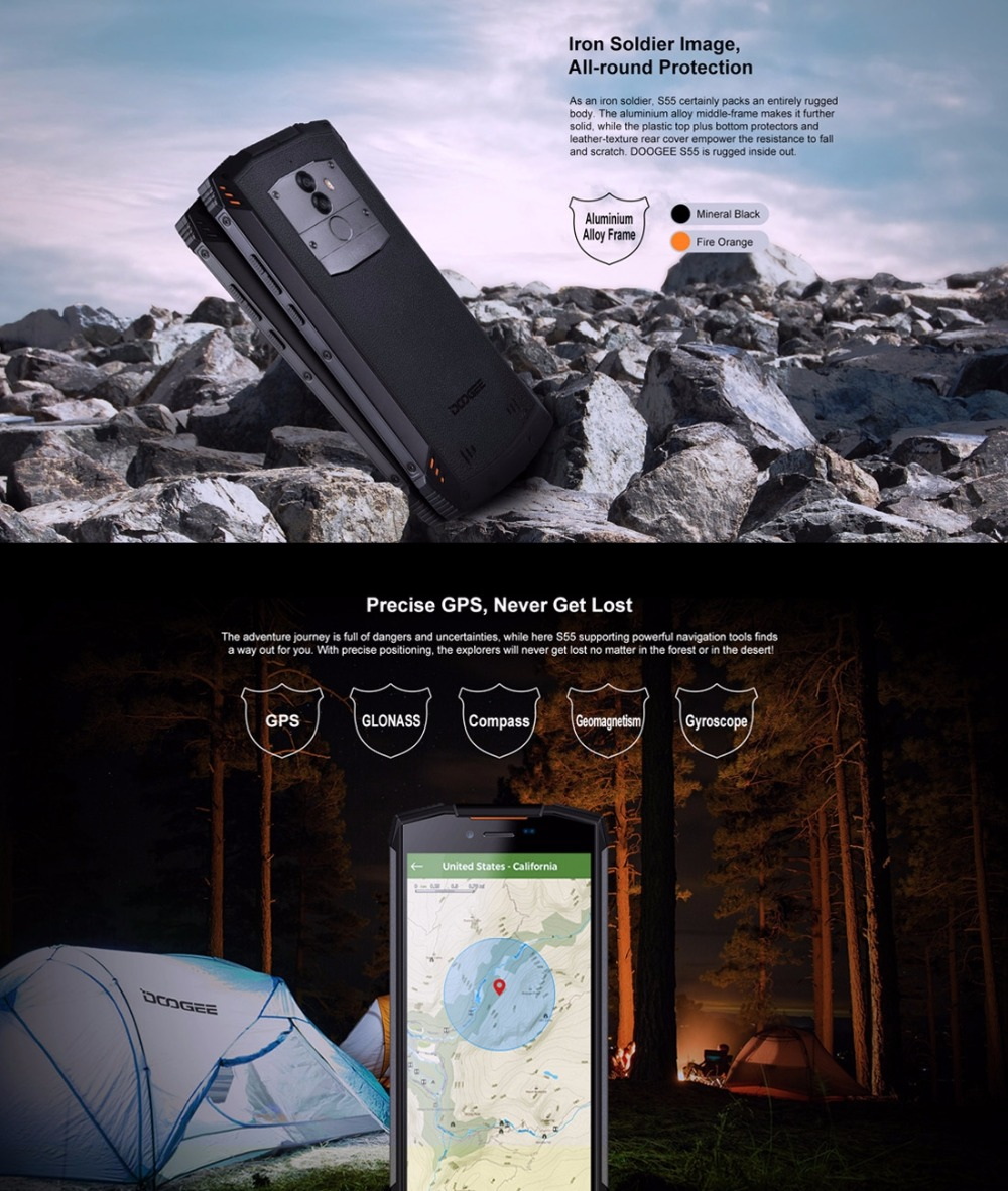 Image 4 - DOOGEE S55 Waterproof Smartphone 4GB RAM 64GB ROM 5500mAh MTK6750T Octa Core 5.5 inch Android 8.0 Dual SIM 13.0MP OTA 4G FDD LTE-in Cellphones from Cellphones & Telecommunications