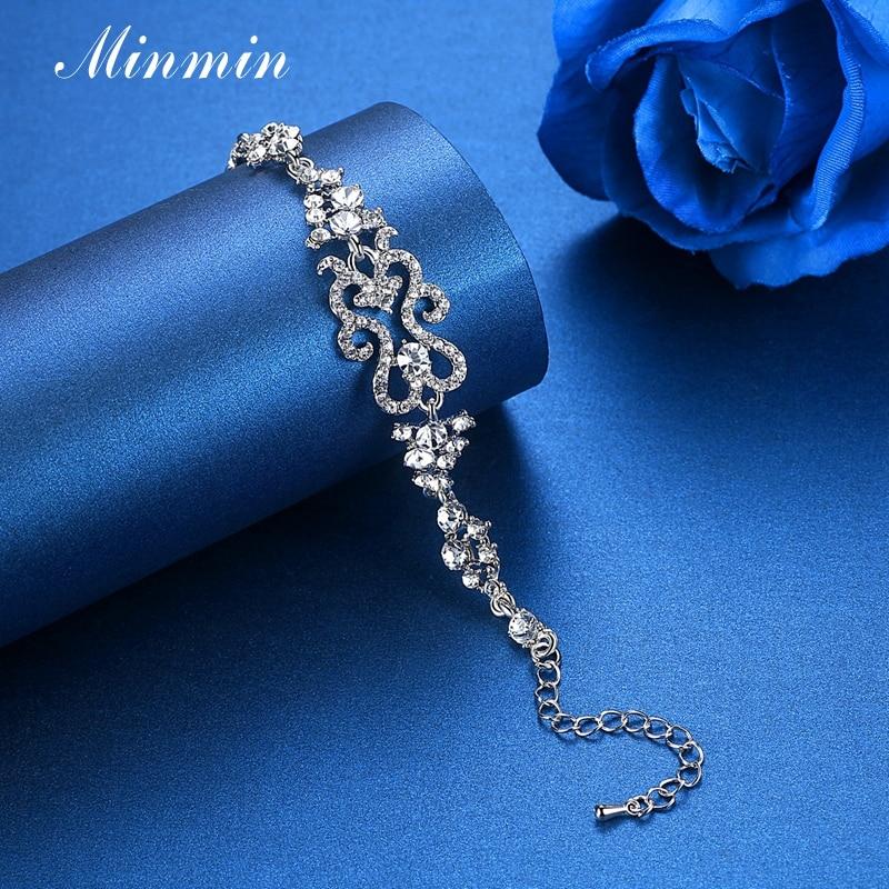 Minmin Klasik Tasarım Bilezik Kadınlar için Gümüş Renk Kristal - Kostüm mücevherat - Fotoğraf 4