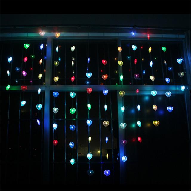 LED en forma de Corazón de Luz Led de Cadena 1.85 M 12 de Caída Amor LED Cortina Ligera de la Secuencia de Hadas Luces de Navidad/Party/Ventana/de La Boda