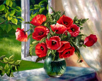 2017 Red Flower DIY Frameless Pictures Painting By Numbers DIY Digital Canvas Oil Painting Home Decor