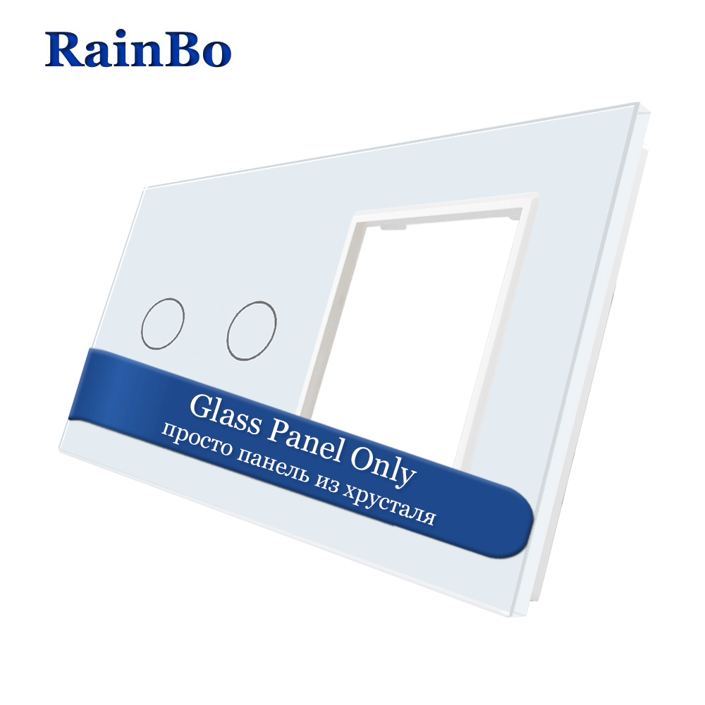 RainBo  Luxury-Crystal Glass-Panel 2Frame-1gang Touch-wall Switch-socket-hole EU For-DIY-Accessories A2928W/B1