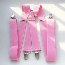 BD054-Light розовый унисекс подтяжки 3,5 см Ширина плюс Размеры Регулируемый эластичный X задней подвески Для мужчин Для женщин 4 зажимы подтяжек