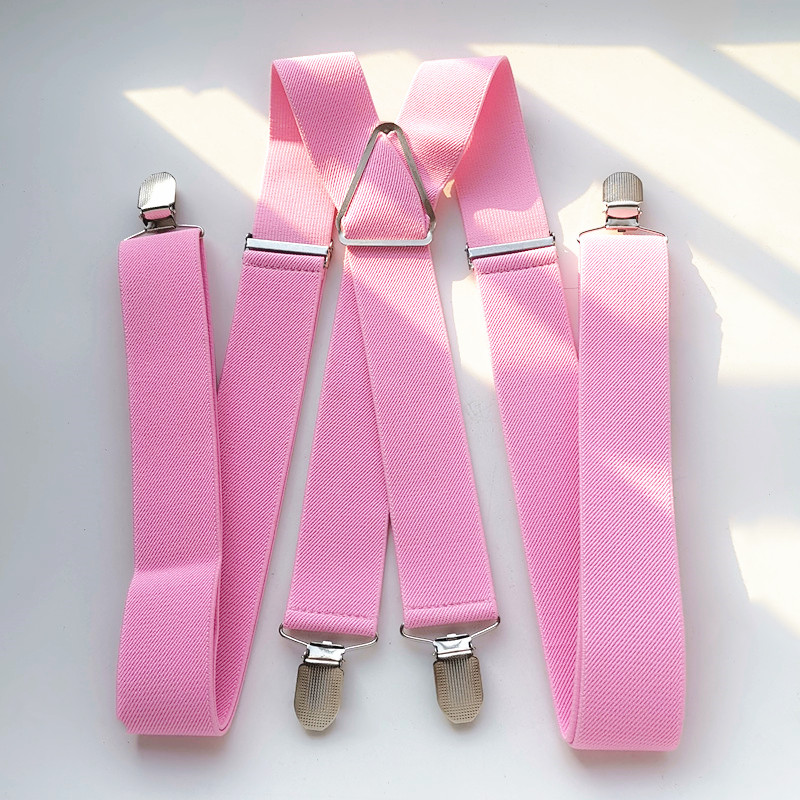 BD054-Light Pink Unisex Adult Suspenders 3.5cm Width Plus Size Adjustable Elastic X Back Suspender Men Women 4 Clips Braces
