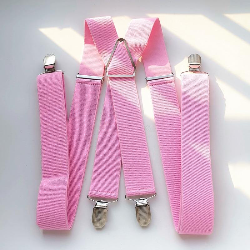BD054-Light Pink Unisex Adult Suspenders 3.5cm Width Plus Size Adjustable Elastic X Back Suspender Men Women 4 Clips Braces