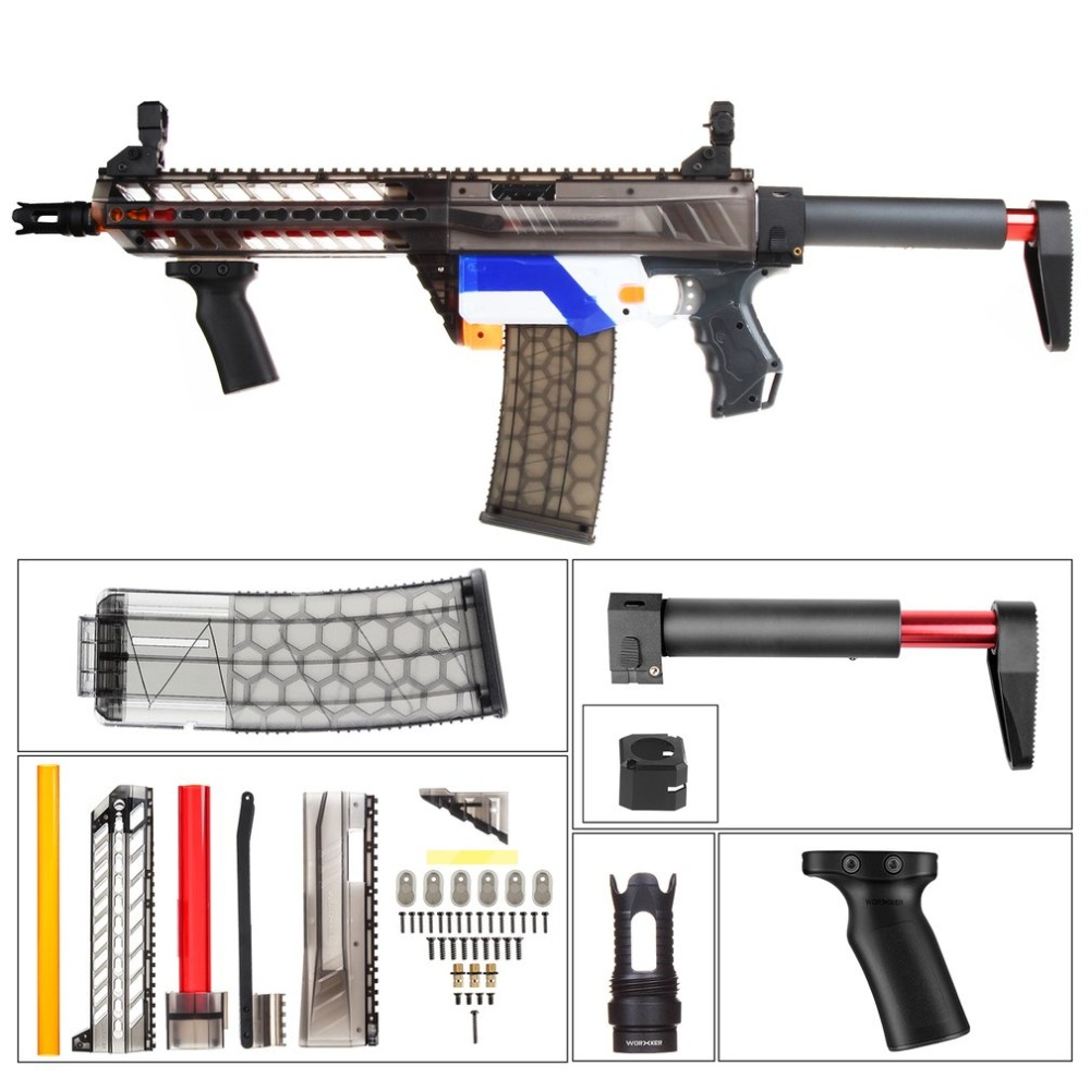 WORKER 3D Printing Modularized Fashionable Style High Strength Plastic Mod Black Pump Kits Combo 5 Items For Nerf RETALIATOR ToyWORKER 3D Printing Modularized Fashionable Style High Strength Plastic Mod Black Pump Kits Combo 5 Items For Nerf RETALIATOR Toy