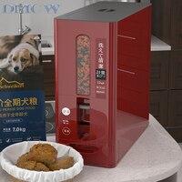 3.5/7kg Dog Food Container Measuring Pet Food Dispenser Moisture proof Grain Storage Barrel Cat Dog Food Box Dog Food Storage