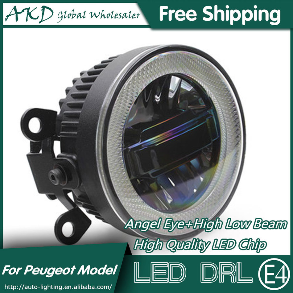 ФОТО AKD Car Styling Angel Eye Fog Lamp for Peugeot 308 LED DRL Daytime Running Light High Low Beam Fog Automobile Accessories