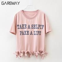 Women T Shirt Short Sleeve Causal Cotton O Neck Tassel Loose Letter Pattern Large Size Summer