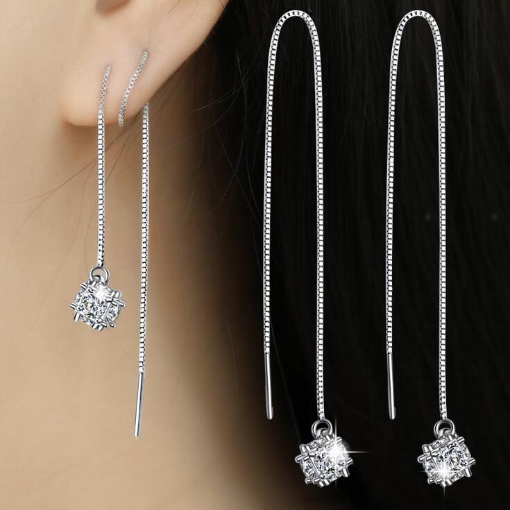 2017 new arrival hot sell fashion shiny zircon star 925 sterling silver ladies`drop earrings jewelry wholesale women gift