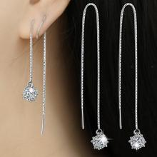 цена на 2017 new arrival hot sell fashion shiny zircon star 925 sterling silver ladies`drop earrings jewelry wholesale women gift