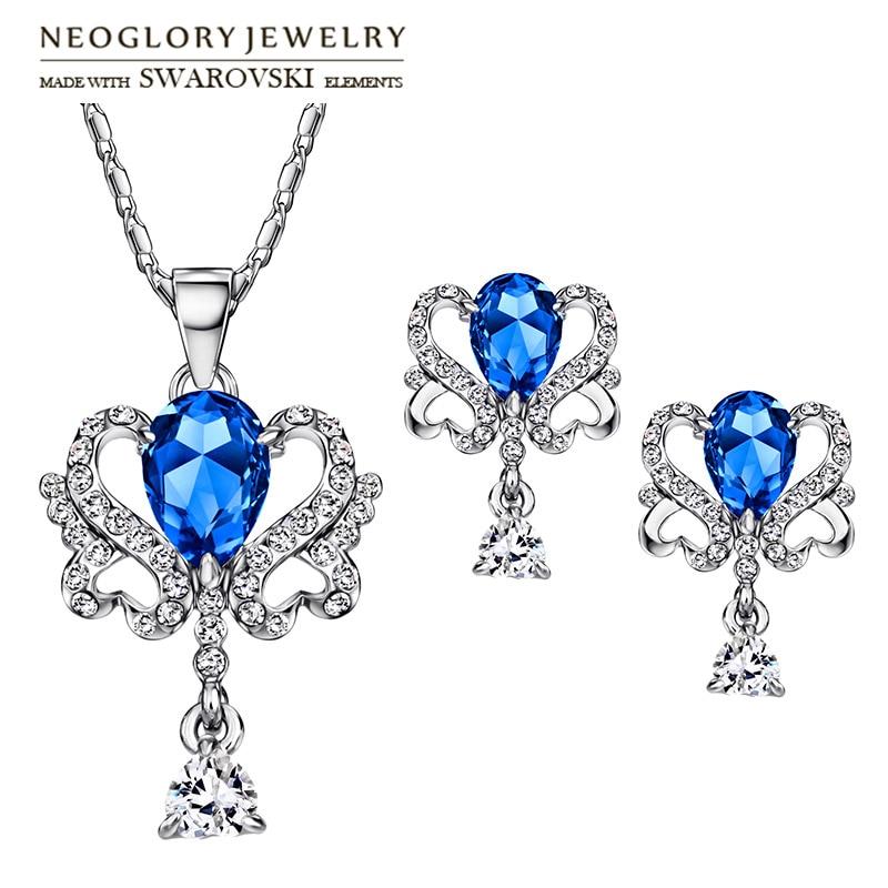 Neoglory Earrings Jewelry-Set Necklace Zircon Rhinestone Vintage Austria for Stylish