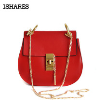 2018 ISHARES New women cute buckle crossbody bags ladies superior cowhide chain fashion messenger for female IS8019
