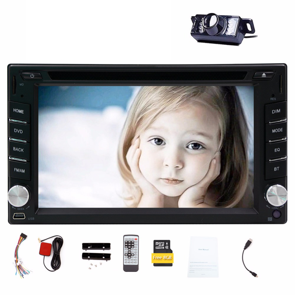 Free Back Camera Touch Screen Car DVD Player GPS Navigation 6.2'' 2 Din Car Stereo Bluetooth Car Radio Audio Video Player touch back